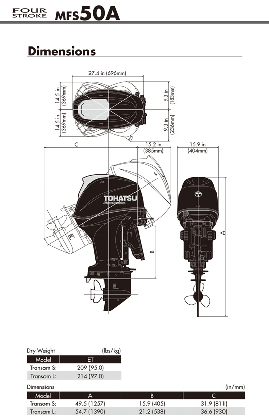 Tohatsu Outboard Engine Dimensions